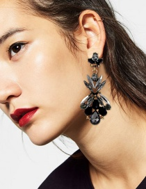 Fashion Black Geometric Shape Diamond Decorated Earrings
