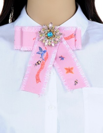 Fashion Light Pink Butterfly&bee Pattern Decorated Bowknot Brooch
