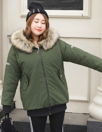 Fashion Olive Embroidery Letter Decorated Thicken Jacket