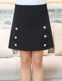 Fashion Black Flower Decorated Pure Color Skirt