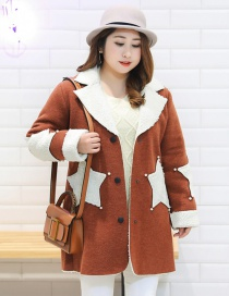 Fashion Coffee Stars Pattern Decorated Thicken Coat