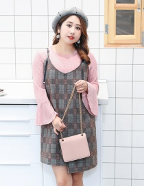 Fashion Gray+pink Grid Pattern Decorated Simple Dress