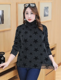 Trendy Black Pure Color Decorated Thicken Shirt