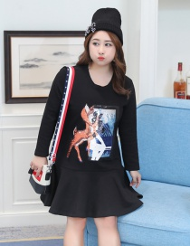 Trendy Black Deer Pattern Decorated A Shape Thicken Dress