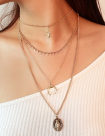 Vintage Gold Color Portrait Shape Decorated Multilayer Necklace