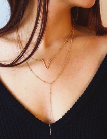 Fashion Gold Color V Shape Decorated Double-layer Necklace