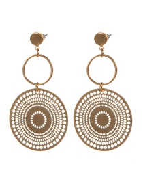 Fashion Gold Color Round Shape Design Hollow Out Earrings