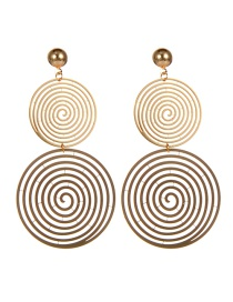 Fashion Gold Color Circular Ring Design Multi-layer Earrings