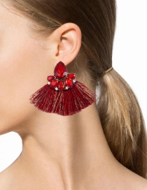 Fashion Red Diamond Decorated Tassel Earrings