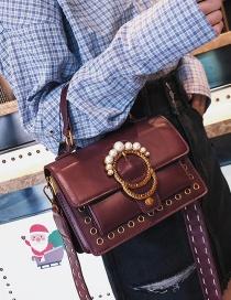 Vintage Purple Metal Rivet Decorated Bag