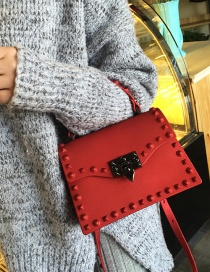 Fashion Red Pure Color Decorated Bag (large Size )