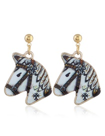 Fashion White Horse Shape Decorated Earrings