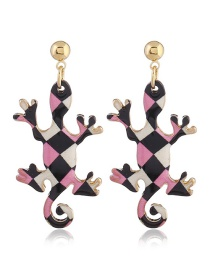 Personality Pink+black Lizard Shape Decorated Earrings