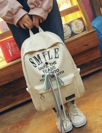 Fashion Beige Bowknot Shape Decorated Backpack