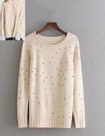 Lovely Beige Dot Shape Decorated Sweater