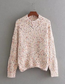 Fashion Beige Color-matching Decorated Sweater