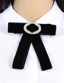 Elegant Black Oval Shape Decorayed Bowknot Brooch