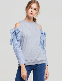 Elegant Gray Bowknot Shape Decorated Blouse