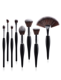 Fashion Black Sector Shape Decorated Makeup Brush (8 Pcs )