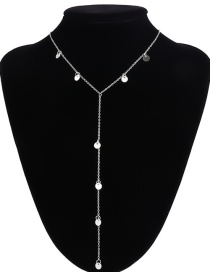 Fashion Silver Color Sequins Decorated Necklace
