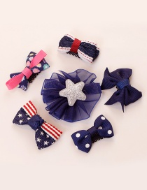 Lovely Dark Blue Star Shape Decorated Bowknot Hair Clip(6pcs)