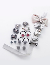 Fashion Gray Bowknot Shape Decorated Hair Clip(18pcs)