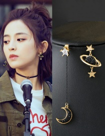 Fashion Black Moon&star Shape Decorated Earrings
