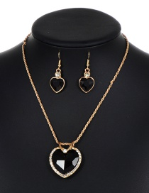 Lovely Black Heart Shape Decorated Jewelry Sets