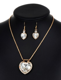 Lovely White Heart Shape Decorated Jewelry Sets