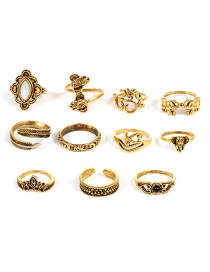 Bohemia Gold Color Elephant Shape Decorated Rings (11pcs)
