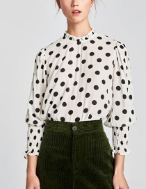 Fashion White Dot Shape Decorated Blouse
