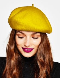 Fashion Yellow Pure Color Decorated Berets