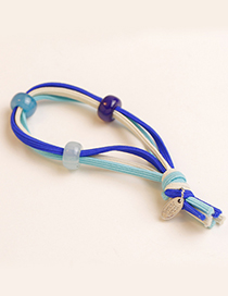 Fashion Blue Bead Decorated Hair Band