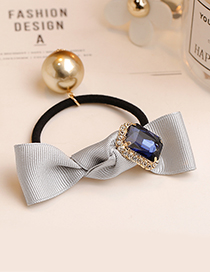 Fashion Gray Square Shape Diamond Decorated Bowknot Hair Band