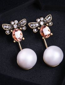 Vintage White Bee Shape Decorated Earrings