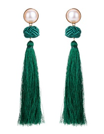 Fashion Green Tassel Decorated Earrings