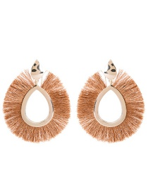 Fashion Brown Sector Shape Decorated Earrings
