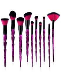 Fashion Purple Fan Shape Decorated Makeup Brushes (10pcs)