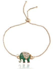 Lovely Green Elephant Decorated Bracelet