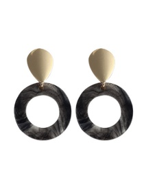 Trendy Gray Circular Ring Decorated Earrings