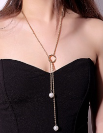 Fashion Gold Color+white Pearls Decorated Long Tassel Necklace