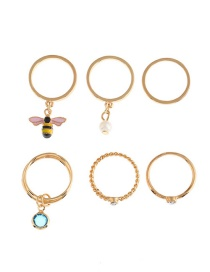 Fashion Gold Color Bee&pearl Decorated Simple Ring(6pcs)