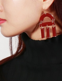 Exaggerated Red Pure Color Decorated Earrings