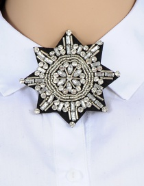 Fashion White Diamond Decorated Snowflake Shape Brooch