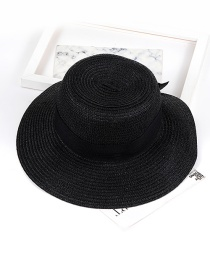 Trendy Black Bowknot Decorated Pure Color Sun Hat