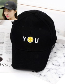 Trendy Black Smiling Face Decorated Baseball Cap