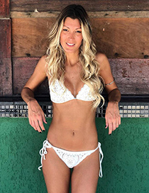 Sexy White Pure Color Decorated Hollow Out Swimwear
