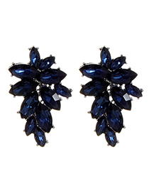 Fashion Dark Blue Oval Shape Diamond Decorated Pure Color Earrings