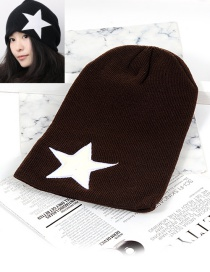 Fashion Dark Brown Star Shape Decorated Hat
