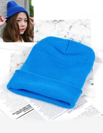 Fashion Blue Pure Color Decorated Hat